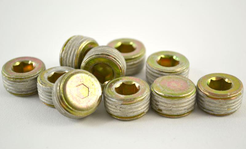 Drain Plug 18mm x 1.50 Pipe Plug With Sealant Yellow Zinc Metric Thread Hex Counter Sunk 10ct.