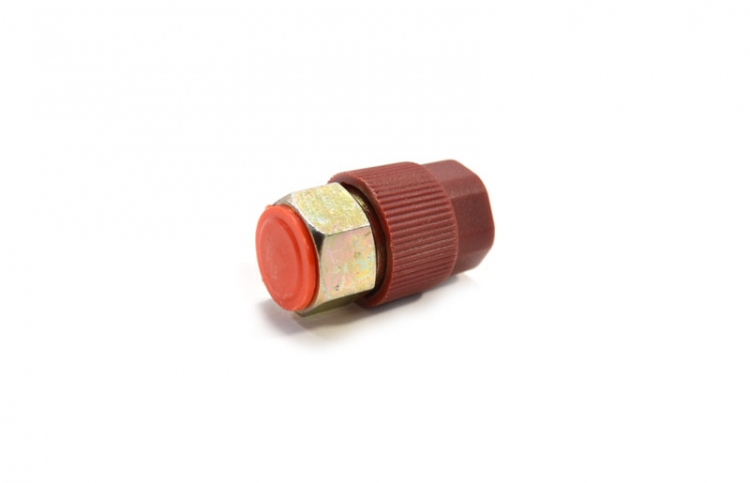 "Straight High Side Steel Retrofit Adapter  7/16"" - 20 Thread With Red M8 x 1 Cap And Core (10 count)"