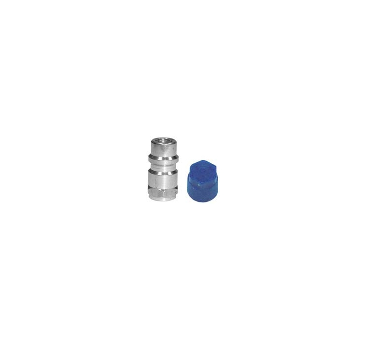 "Straight Low Side Aluminum Retrofit Fitting  7/16"" - 20 Thread With Blue M8 x 1 Cap (10 count)"