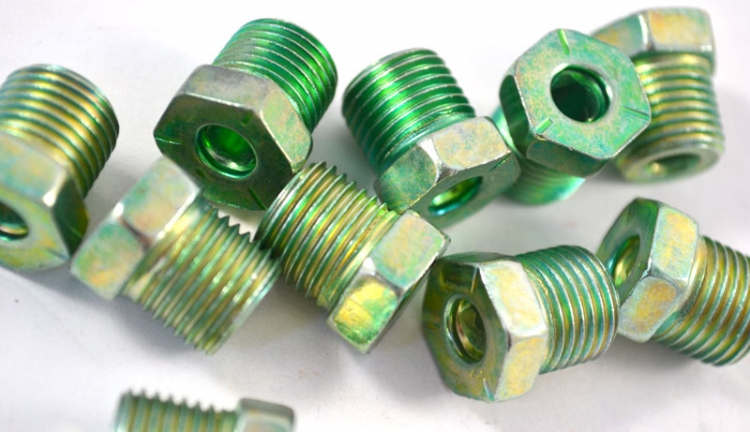 "BLF41 | 10 PACK  Green Tube Nut 3/16"" -1/2"" Thread  Oversize Steel Tube Nuts"