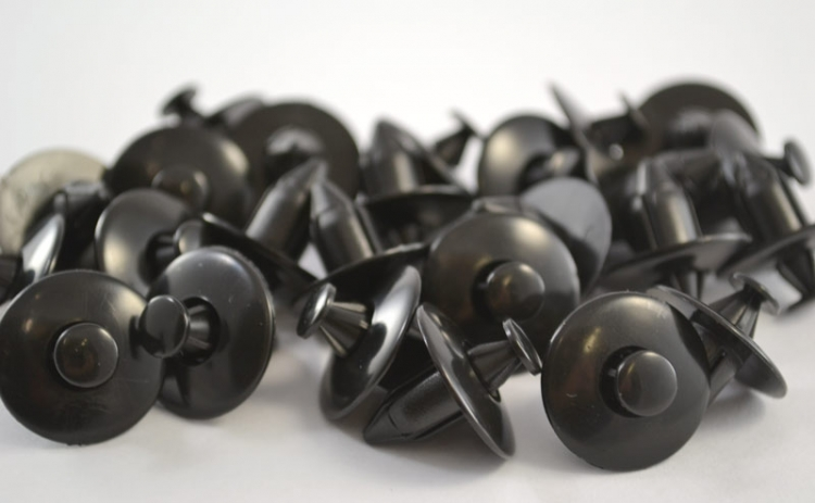 Black Nylon Push-Type Retainer Head Diameter 20mm (25 count)