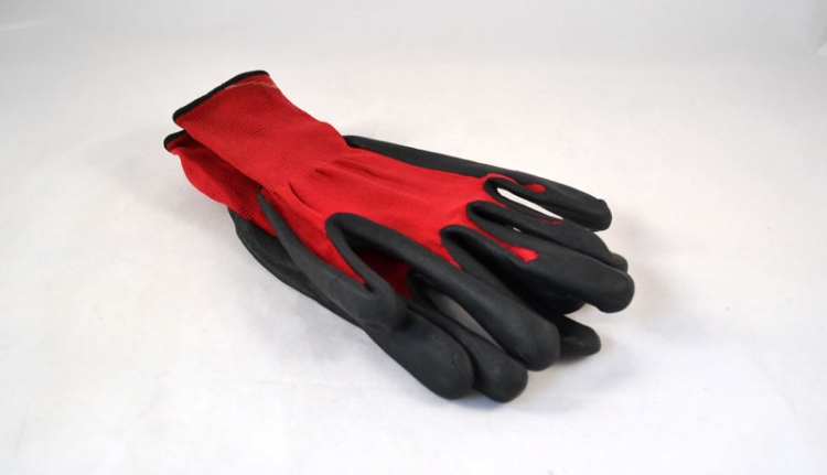 Black Nitrile Coated, Red Nylon Gloves